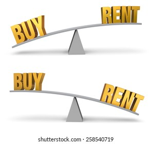 """Set of two images. In each, a gold """"BUY"""" and """"Rent"""" sit on opposite ends of a gray balance board.  In one image, """"BUY"""" outweighs """"RENT"""" in the other, """"RENT"""" outweighs """"BUY"""". Isolated on white."""
