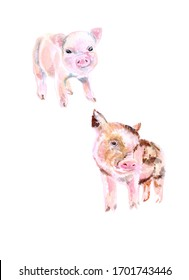 set of two mini piglets, mini piggy pink, mini piglet beige watercolor, can be used as a decor for fabrics, t-shirts, hoodies, cards, blackboards, calendars, web