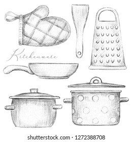 Set with two pots, pan, oven mitt, spatula and grater isolated on white background. Lead pencil graphic illustration