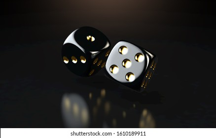 A set of two reflective black casino dice with gold markings floating in the air on a dark classy background - 3D render