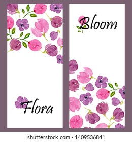Set of two vertical banners with watercolor lilac blossom and place for text. Templates with floral violet patterns. Design for wedding, invitations or cards