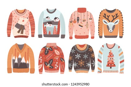 Set of ugly Christmas sweaters or jumpers isolated on white background. Collection of winter holiday knitted clothes with bizarre prints and pattern. Colored illustration in flat cartoon style.