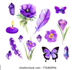 Set of ultra violet things - flowers, feathers, gemstones, crystlals, butterflies, candle. Cute boho collection of ultraviolet in watercolor