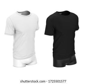 Set of underwear, sportswear. Men's t-shirt and shorts. 3d realistic clothing template isolated on white background. Clothing mock up black and white color.