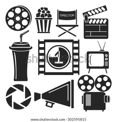 Set Universal Cinema Movies Web Mobile Stock Illustration 302595815 ...