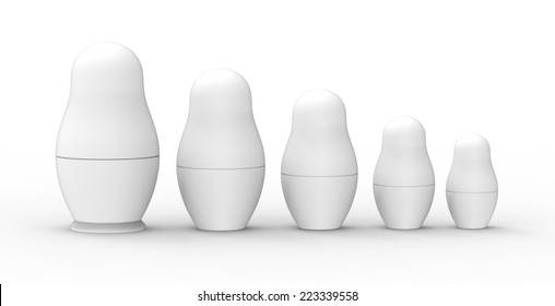 Set of unpainted Russian Dolls on white