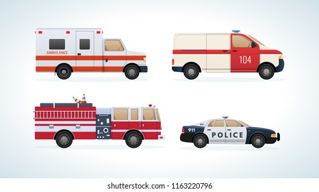 Set of urban transport. City cars, vehicles transport: fire service, ambulance machine, rescue service, police. Side view. City car rescue service. illustration isolated.