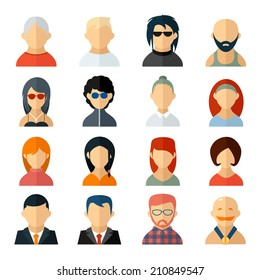 Set of user avatar icons in flat style with diverse men and women  old to young  professionals to sporty  bald to colorful harstyles  business to casual attire