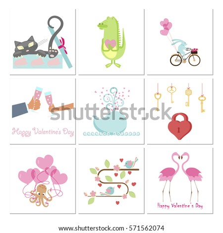 Set Valentines Day Banners Cute Animals Stock Illustration 571562074
