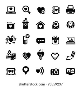 Set valentine's day icons, love on the Internet. Bitmap copy my vector ID 91467749