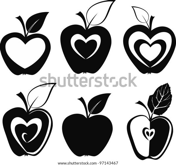 Set of various apple silhouettes icons  illustration