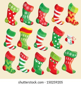 Set of various Christmas stockings. Elements for X-mas and New Year design. Raster version