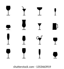 Set of various glasses icons. Black silhouettes on a white background,  illustration.