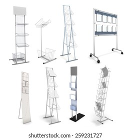 Set of various stands for promotional materials. Advertizing racks for information materials. 3d illustration.
