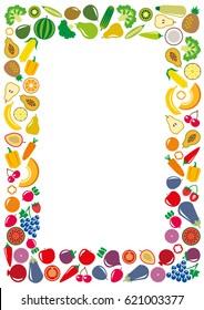Set of vegetables and fruits icons illustration rectangle frame background on white