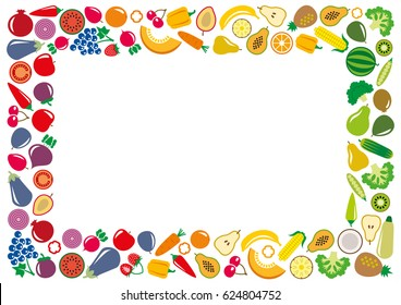 Set of vegetables and fruits icons illustration rectangle frame background on white