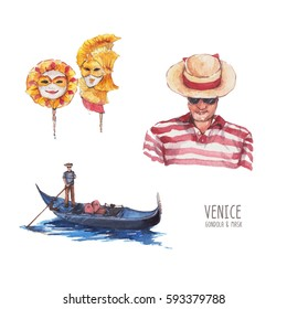 Set of Venice, Mask, gondola and gondoliers. watercolor painting isolated on white background.