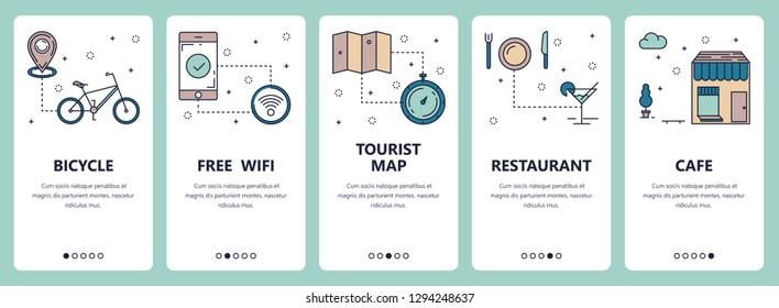 set of vertical banners with Bicycle, Free wifi, Tourist map, Restaurant, Cafe website and mobile app templates. Modern thin line flat style design.