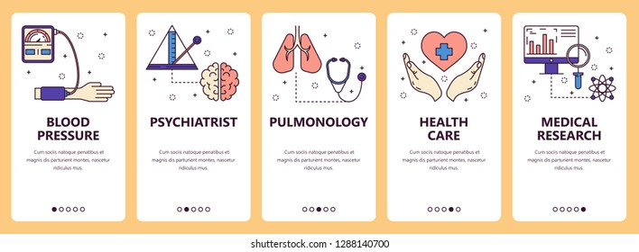 set of vertical banners with Blood pressure, Psychiatrist, Pulmonology, Health care, Medical research website and mobile app templates. Modern thin line flat style design.