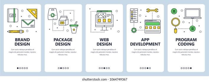 Set of vertical banners with Brand design, Package design, Web design, App development, Program coding concept website templates. Modern thin line flat style design.