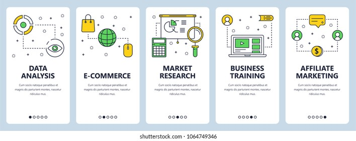 Set of vertical banners with Data analysis, E-commerce, Market research, Business training, Affiliate marketing website templates. Modern thin line flat style design.