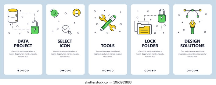 Set of vertical banners with Data project, Select icons, Tools, Lock folder, Design solutions website templates. Modern thin line flat style design.