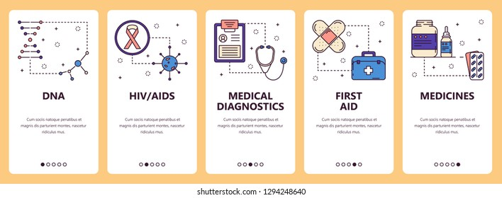 set of vertical banners with DNA, HIV AIDS, Medical diagnostics, First aid, Medicines website and mobile app templates. Modern thin line flat style design.