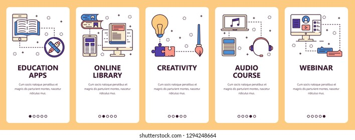 set of vertical banners with Education apps, Online library, Creativity, Audio courses, Webinar website and mobile app templates. Modern thin line flat style design.