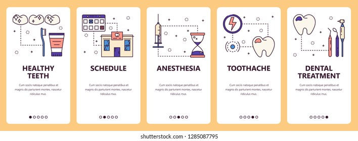 set of vertical banners with Healthy teeth, Schedule, Anesthesia, Toothache, Dental treatment website and mobile app templates. Modern thin line flat style design.