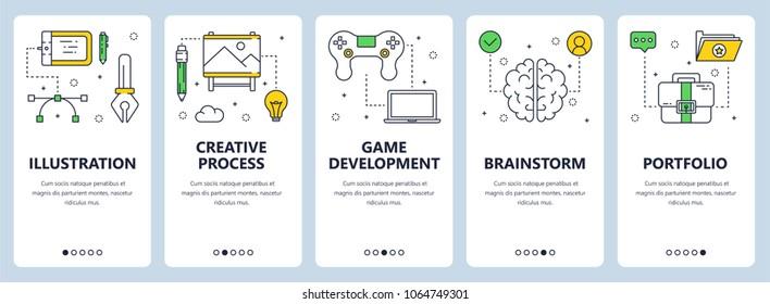 Set of vertical banners with Illustration, Creative process, Game development, Brainstorm, Portfolio website templates. Modern thin line flat style design.