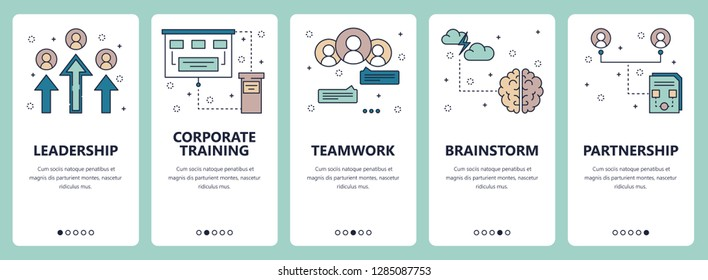 set of vertical banners with Leadership, Corporate training, Teamwork, Brainstorm, Partnership website and mobile app templates. Modern thin line flat style design.
