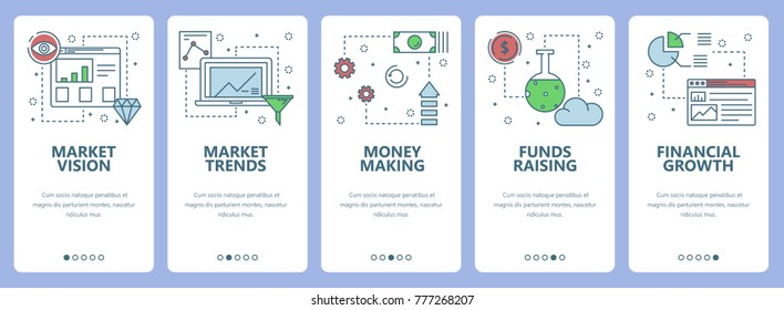 Set of vertical banners with Market vision, Market trends, Money making, Funds raising, Financial growth concept web elements. Modern thin line flat symbols, icons for website menu, print.