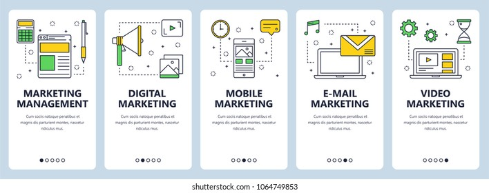 Set of vertical banners with Marketing management, Digital, Mobile, E-mail and Video Marketing website templates. Modern thin line flat style design.