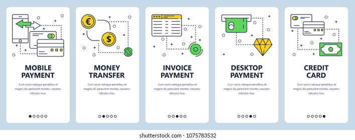 Set of vertical banners with Mobile payment, Money transfer, Invoice payment, Desktop payment, Credit card website templates. Modern thin line flat style design.