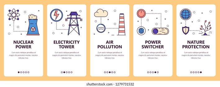 set of vertical banners with Nuclear power, Electricity tower, Air pollution, Power switcher, Nature protection website and mobile app templates. Modern thin line flat style design.