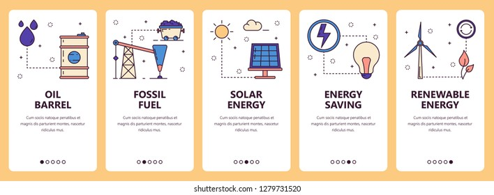 set of vertical banners with Oil barrel, Fossil fuel, Solar energy, Energy saving, Renewable energy website and mobile app templates. Modern thin line flat style design.