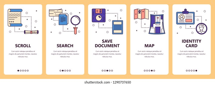 set of vertical banners with Scroll, Search, Save document, Map, Identity card website and mobile app templates. Modern thin line flat style design.