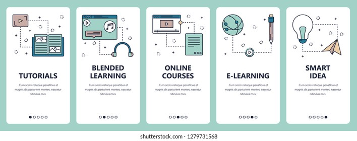 set of vertical banners with Tutorials, Blended learning, Online courses, E-learning, Smart idea website and mobile app templates. Modern thin line flat style design.