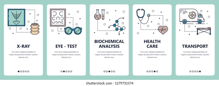 set of vertical banners with X-ray, Eye-test, Biochemical analysis, Health care, Transport website and mobile app templates. Modern thin line flat style design.