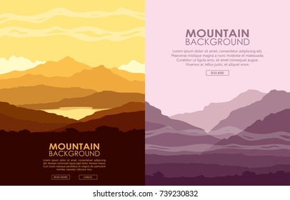 Set of vertical flyers with mountain landscapes. Yellow and purple mountain ranges at sunset. Raster illustration.