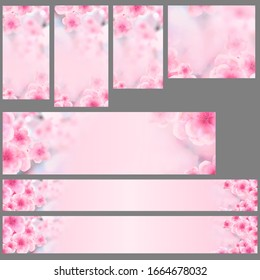 Set of vertical and horizontal Japanese Spring Sakura cherry blossoms website banner backgrounds. 3D Illustration Clip-Art with Floral spring petal design header. copy space in pink, white and blue
