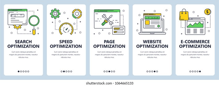 Set of vertical website banners. Search optimization and speed, page, website and e-commerce optimization web templates. Modern thin line flat style design.