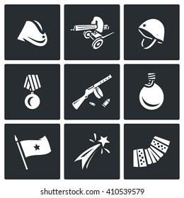 Set of Victory Day in Russia Icons. Garrison cap, Machine gun, Helmet, Order, Submachine, Flask, Flag, Firework, Harmonic. Hat, Weapon, Medal, Gun, Water, Banner, Celebration, Music.