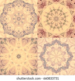 Set of vintage abstract backgrounds. Kaleidoscopic illustrations. Bright flower. Seamless pattern.