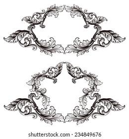 set vintage border frame baroque filigree engraving  with retro ornament pattern in antique style ornate decorative calligraphy design