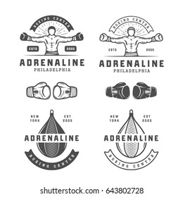 Set of vintage boxing and martial arts logo badges and labels in retro style. Monochrome graphic Art. Illustration