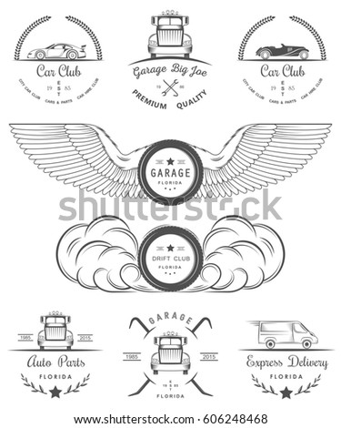 Royalty Free Stock Illustration Of Set Vintage Car Club Drift Club