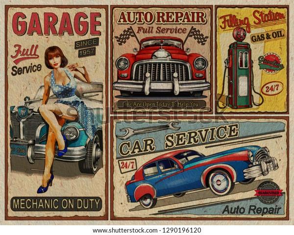 Set Vintage Car Metal Signsgarage Filling Stock Illustration 1290196120