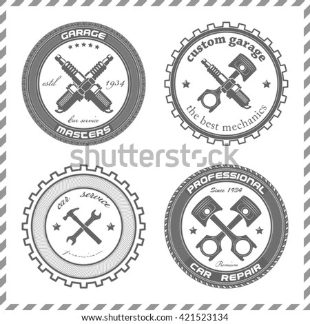 Set Vintage Car Symbols Car Service Stock Illustration 421523134