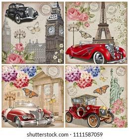 Set of vintage car travel poster.London,Paris,Rome,New York.